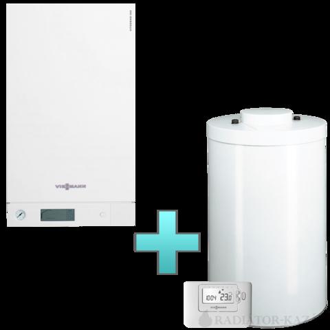 Viessmann Vitodens 100-W Touch 35 kW gázkazán, kondenzációs hőközpont Vitocell 100-W 120 L tárolóval Vitotrol 100 OT1 távszabályozóval EU-ERP